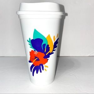 Starbucks Summer 2020 White tropical flower cup